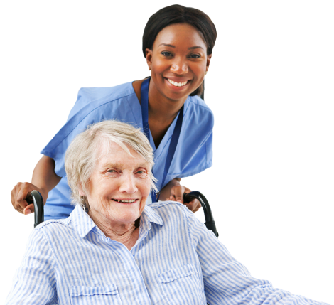 smiling caregiver and elderly woman in a wheelchair
